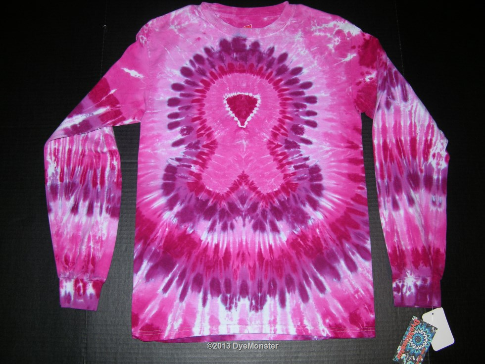 Adult Small Long Sleeve Pink Ribbon tie-dye T