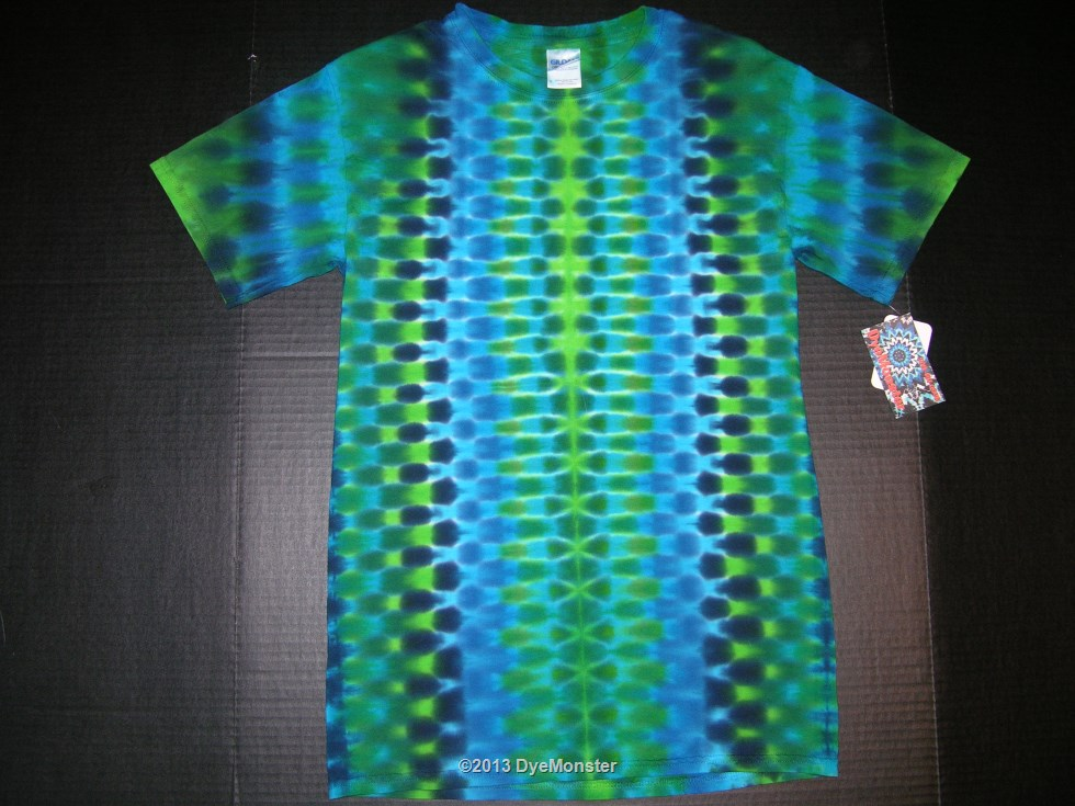 Adult Small blue-green DNA fold tie-dye T-shirt