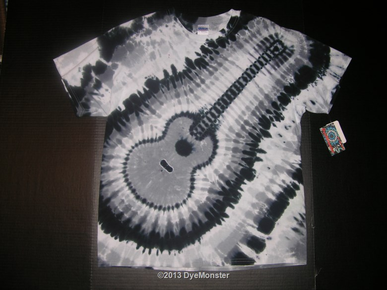 XL Monochrome Acoustic Guitar Tie-dye