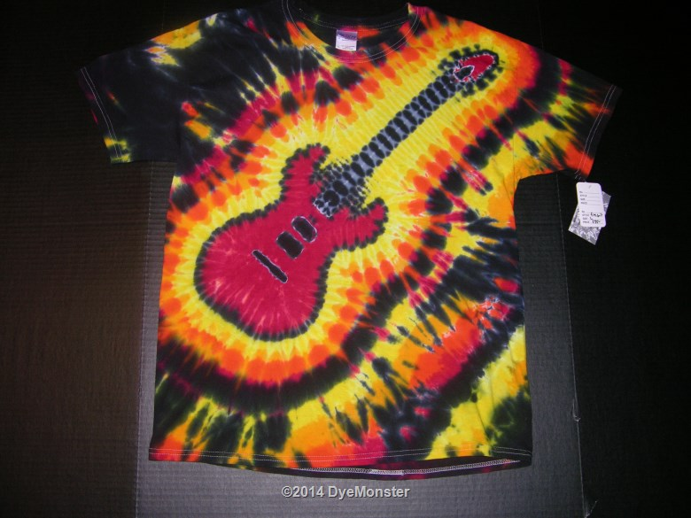 Large Red Electric Guitar Tie-dye