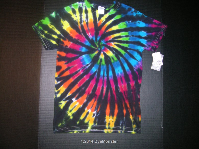 Small Black-Rainbow Spiral Tie-dye