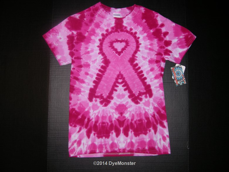 Small Pink Breast Cancer Awareness Ribbon Tie-dye