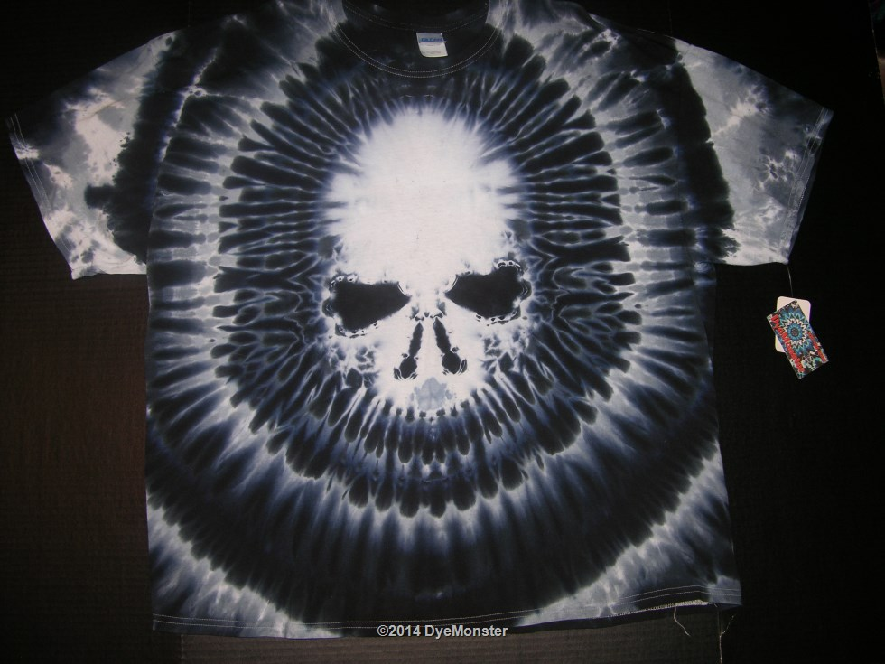 3XL Black Skull Tie-dye T-shirt