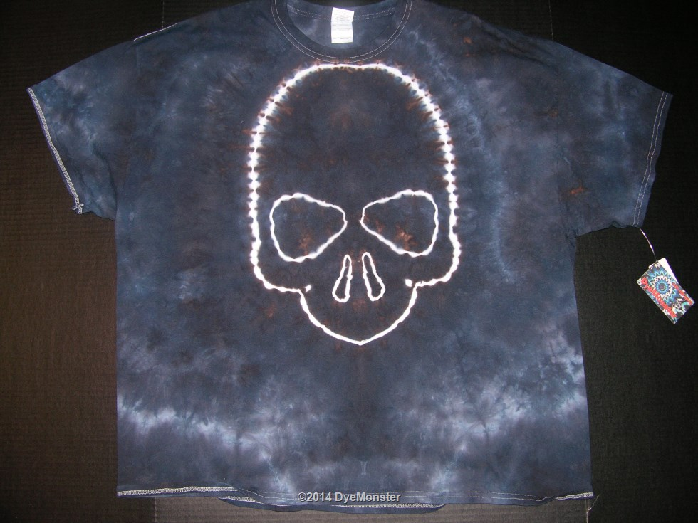 3XL Black Marble Skull Tie-dyed T-shirt