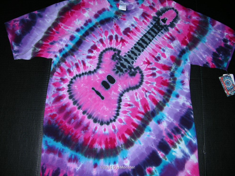 XL Pink Purple Electric Guitar tie-dye