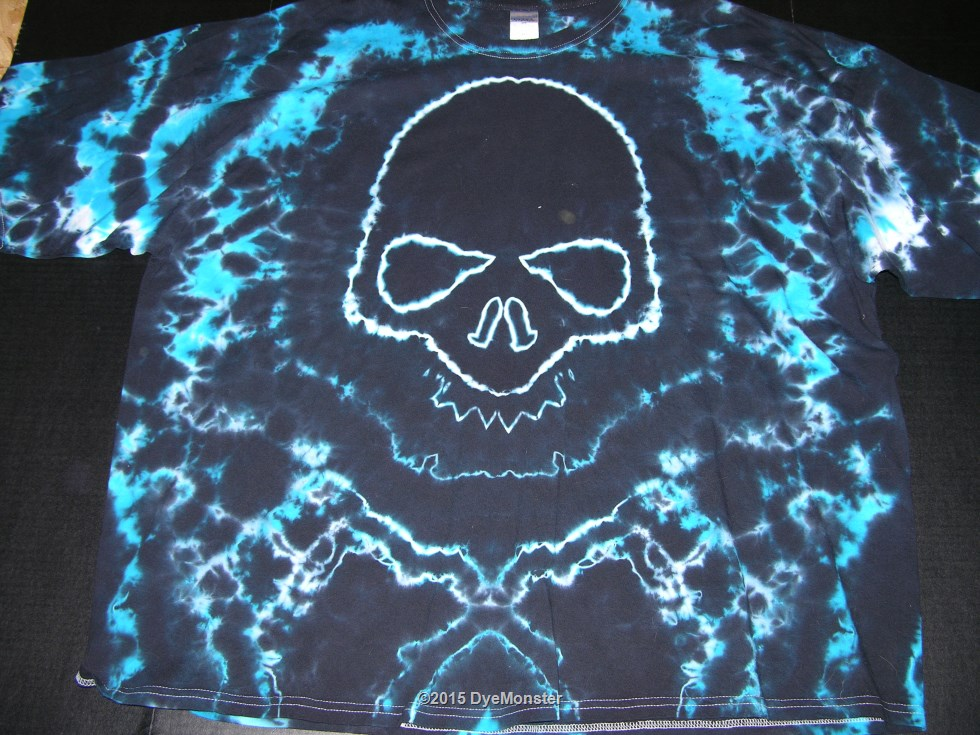 5XL Black and Blue Skull tie-dye
