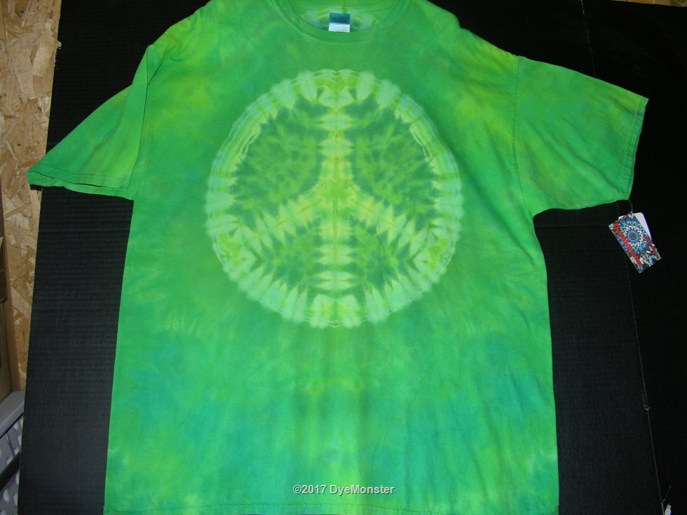 2XL Green LWI Peace Sign tie-dye