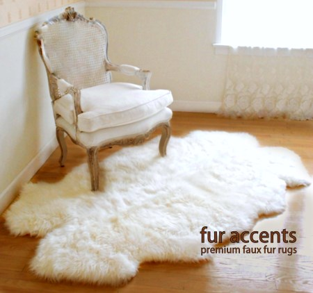 3x5 Thick White Faux Fur Sheepskin Rug Quatro New by Fur Accents