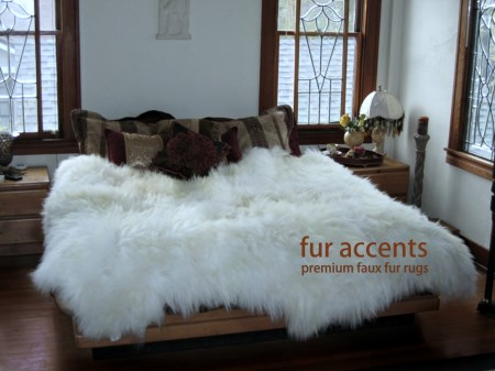 Premium faux fur sheepskin rug accent throw 7 39 new by fur - Tapis fausse fourrure pas cher ...