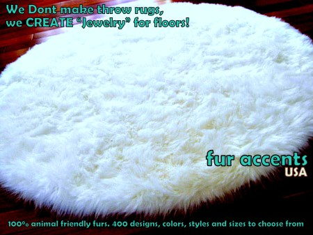 5' / Plush Faux Fur Accent Rug / Sheepskin / White