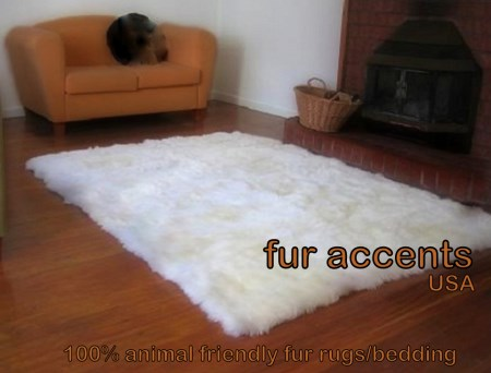 5x7' Off White Faux Fur Flokati Sheepskin Area Rug