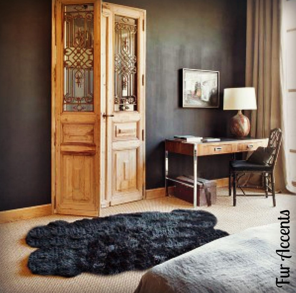 Fur Accents Black Faux Sheepskin  Quatro Area Rug