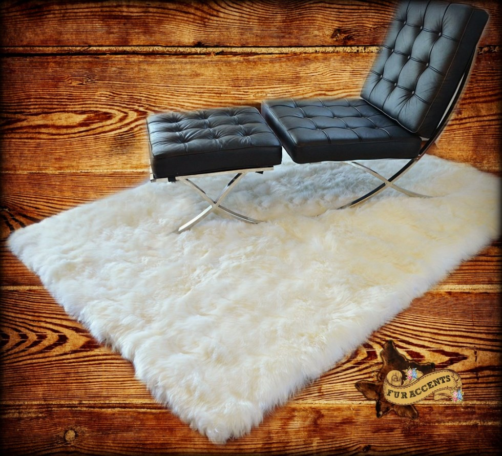 Fur Accents White Faux Sheepskin Area Rug