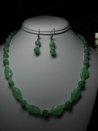 Amazonite, glass and crystals