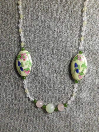 Hand painted beads with rose quartz, nephrite,...