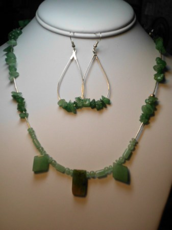 Green adventurine and sterling silver