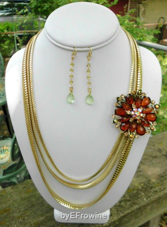 Rose of the Heart-Gold and Dark Amber set