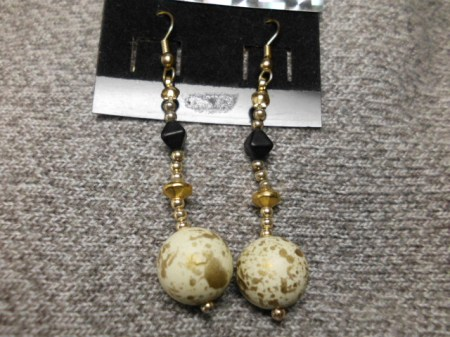 Gold flecked ball earrings