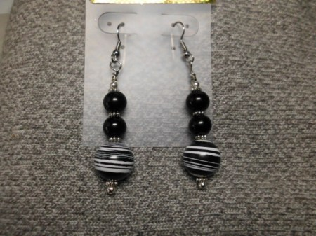 Black and white striped ball earrings