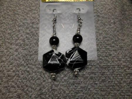 Black and white octagon earrings