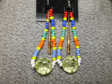 Rainbow and peridot earrings