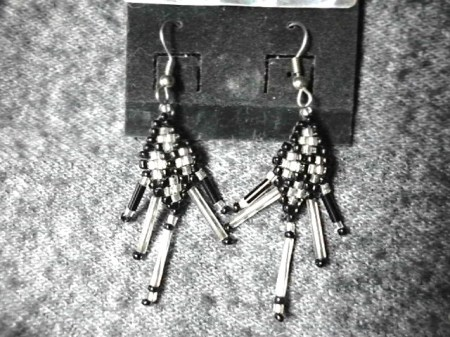Black and silver beaded earrings #2