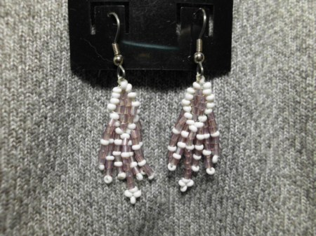 Pale lavender and white earrings