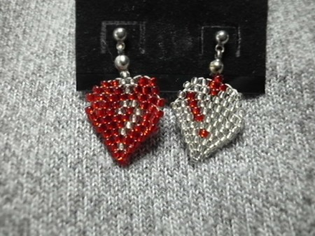 My Beaded Heart earrings #2