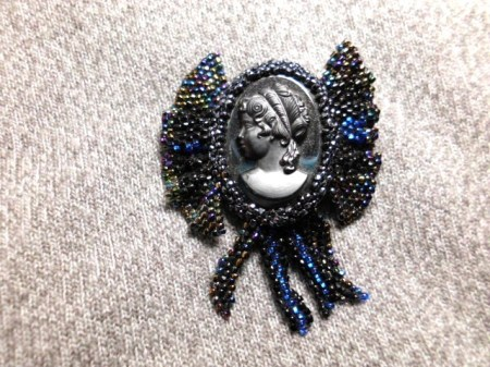 Beaded Hematite gray cameo brooch