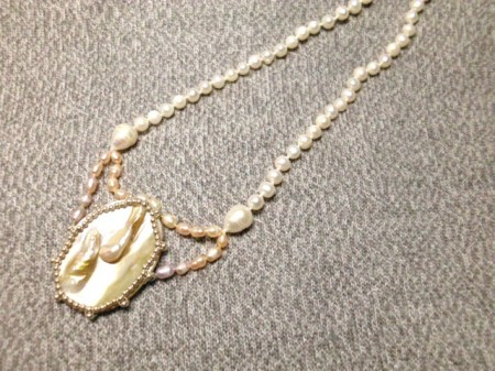 Baroque and blister pearl necklace