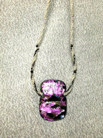 Pink Dichroic and sterling necklace