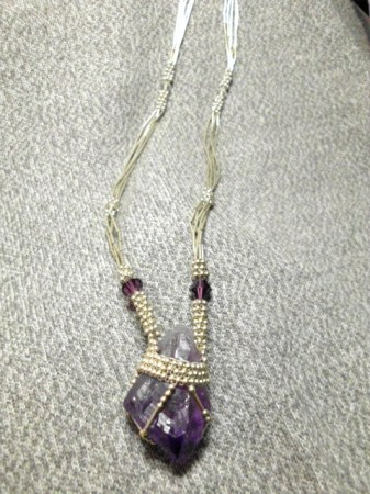 Natural Amethyst and sterling silver necklace
