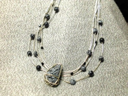 Snowflake Obsidian fantasy necklace