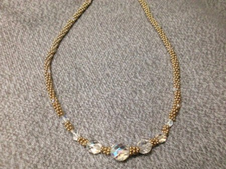 Czech crystals and gold tubular beaded necklace