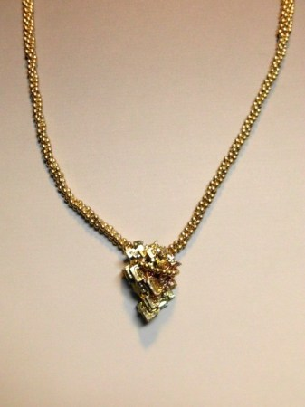 Bismuth and Gold necklace