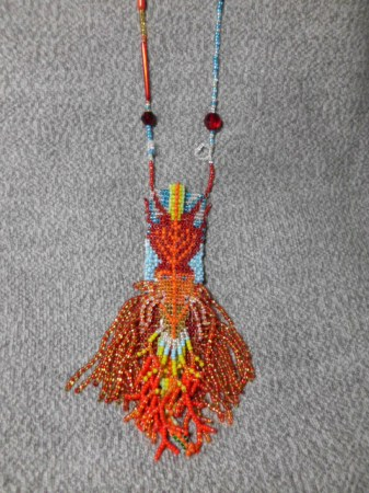 Red Dragon amulet bag necklace