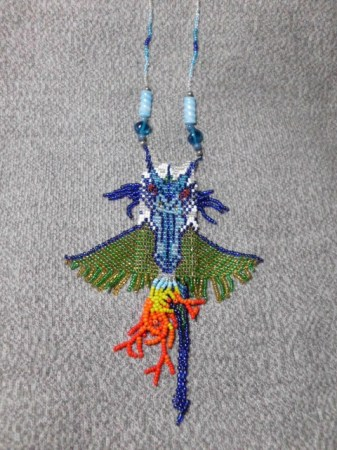 Blue Dragon amulet bag necklace
