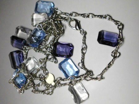 Fashion Chain Belts-blue and clear beads