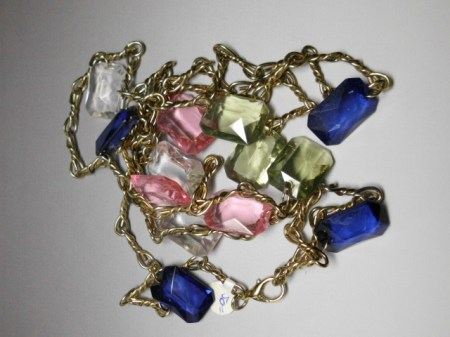 Brass Fashion Chain Belt-pink,clear,blue beads
