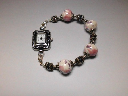 Porcelain and crystals silver watch bracelet