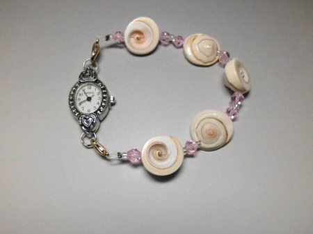 Shell,crystal and silver Marcasite watch bracelet