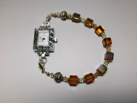 Amber cube,crystal silver Marcasite watch bracelet