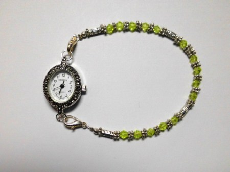 Peridot crystals, silver Marcasite watch bracelet