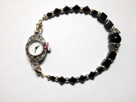 Black Crystal silver Marcasite watch bracelet