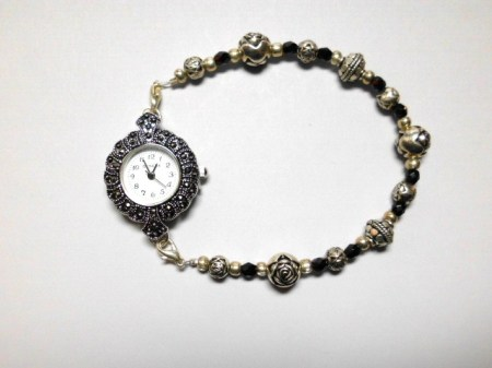Black crystals,rosebuds  Marcasite watch bracelet