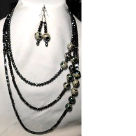 Gunmetal AB Tri-strand necklace set