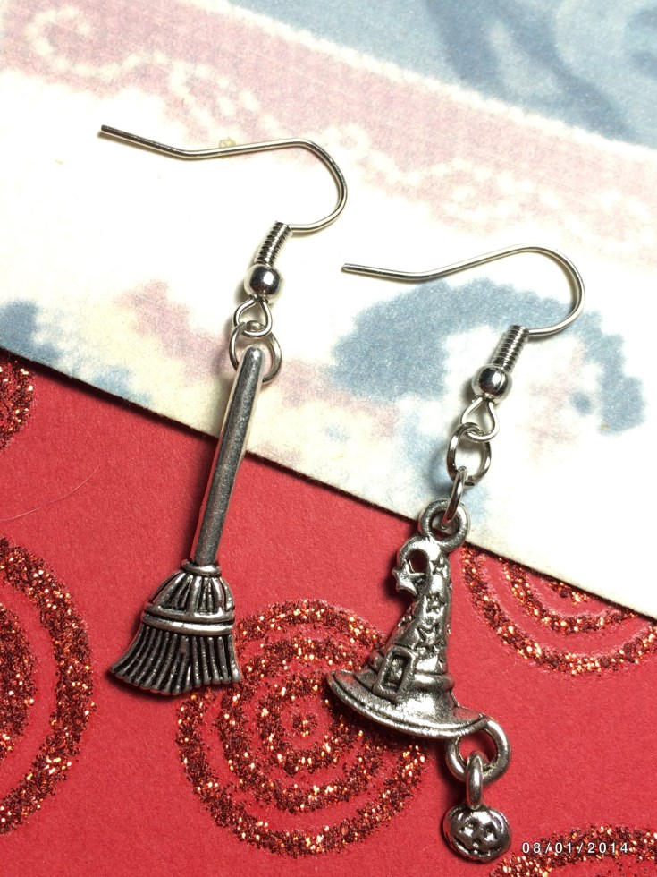Witches Hat & Broom Earrings & House Euro Charm