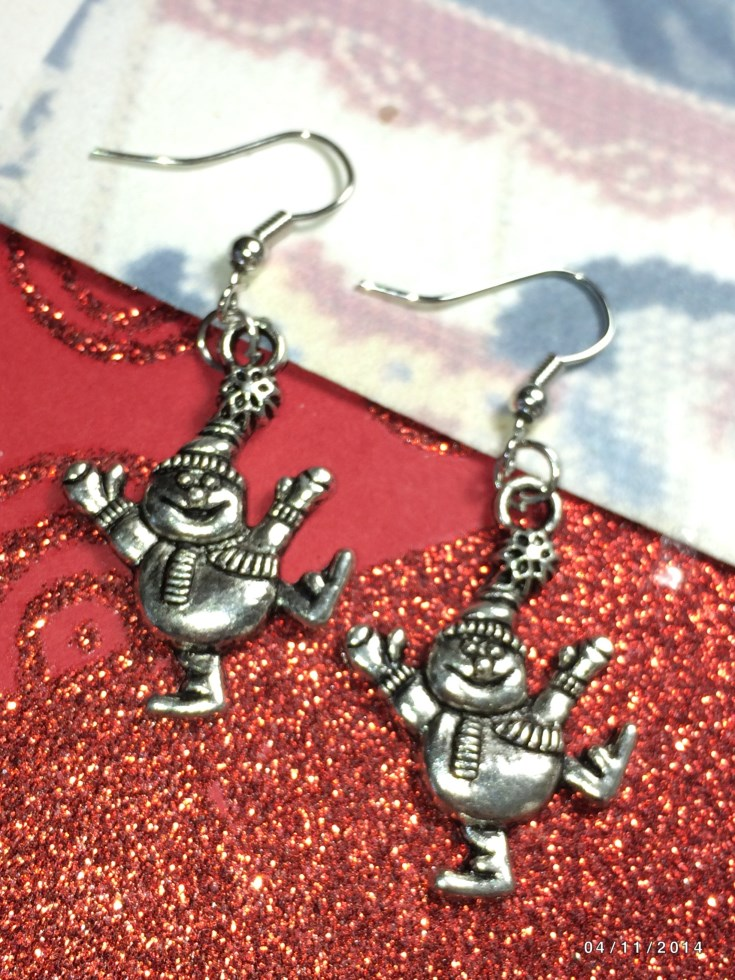 Christmas Fun Snowman Earrings & European Charm
