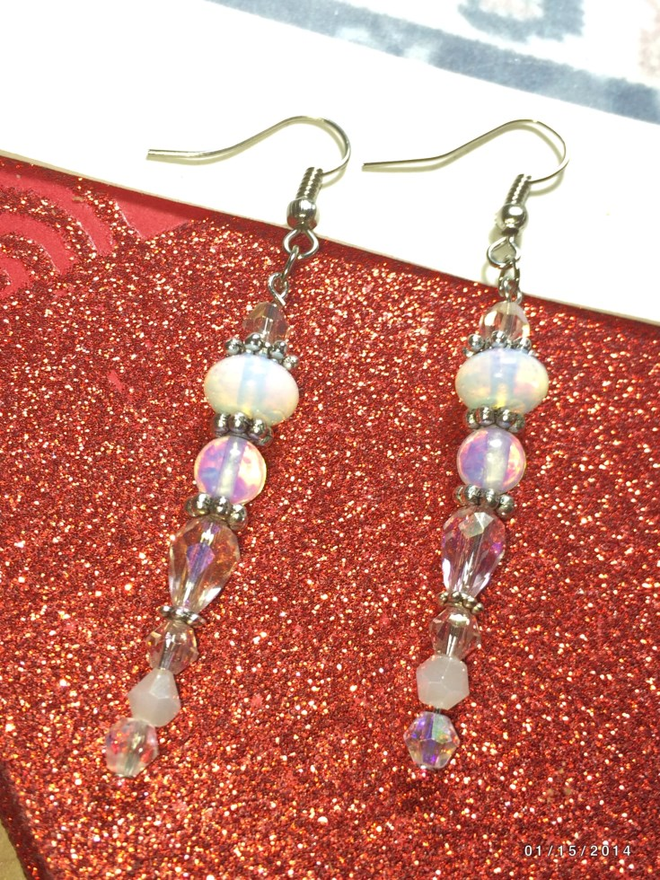 Christmas Moonstone Icicle Bead Earrings