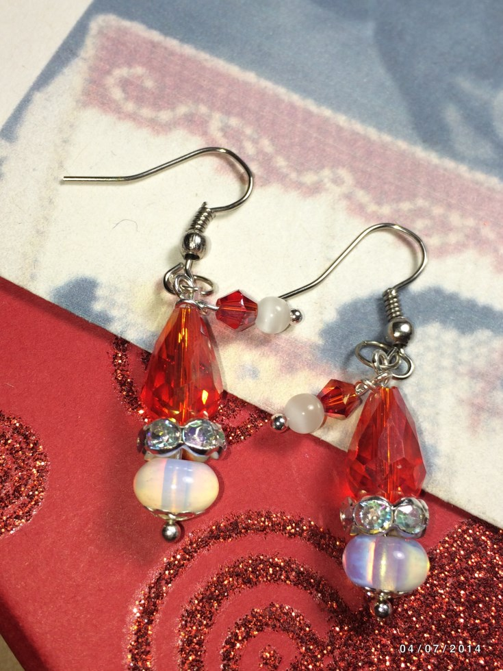Christmas Santa Hat Moonstone Bead Earrings